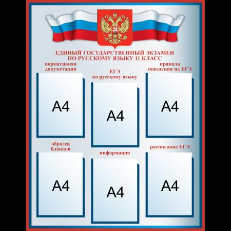 Стенд ЕГЭ по русскому языку с госсимволикой